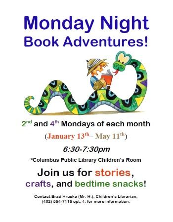 Monday Night Book Adventures Spring 2020 Poster