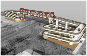 Rendering of pedestrian overpass at 18th Avenue.